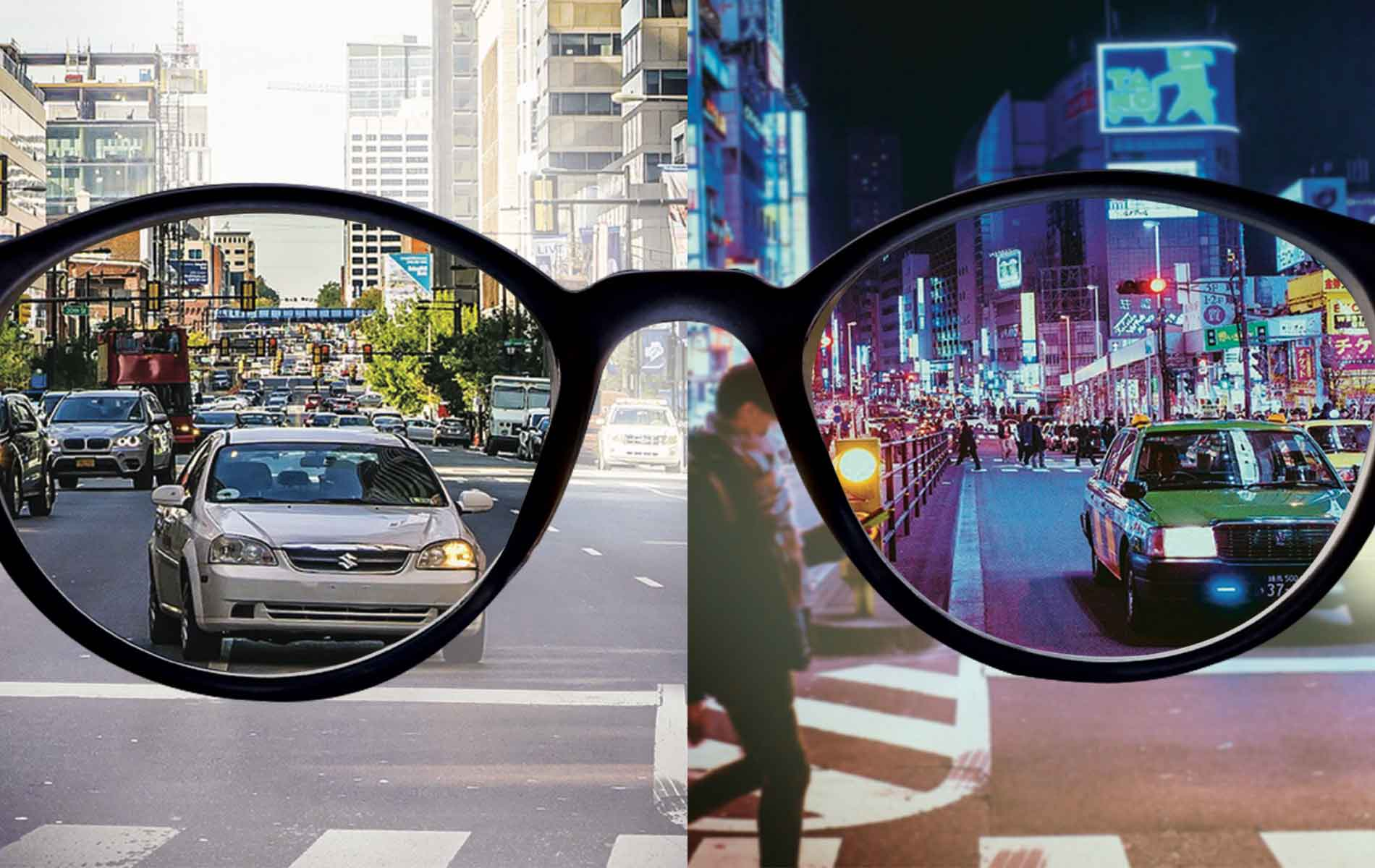 split image of a city during the day and night seen through the glasses